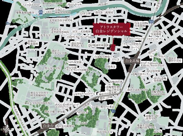 アトラスタワー白金レジデンシャル 位置図