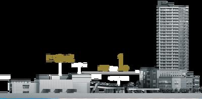 (仮称)三鷹駅直結タワープロジェクト 現地周辺断面概念図