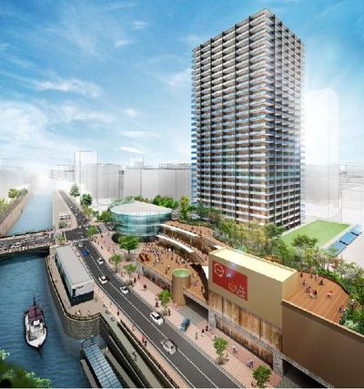 納屋橋東地区再開発の完成予想図