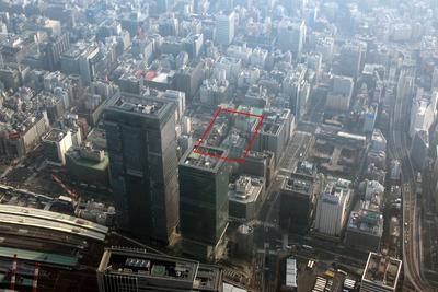 京橋二丁目西地区第一種市街地再開発事業の建設地の空撮
