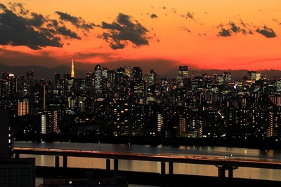東京タワー周辺の超高層ビル群と夕景