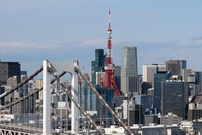 フジテレビから見たグローバルフロントタワーと東京タワー