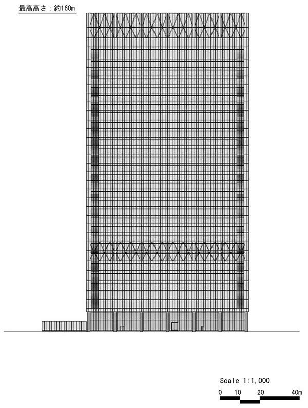 (仮称)赤坂二丁目計画 南側立面図
