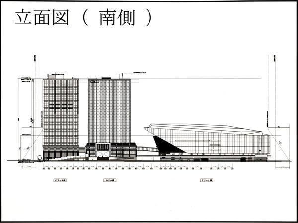 Kアリーナプロジェクト 都市景観形成行為のお知らせ 立面図(南側)