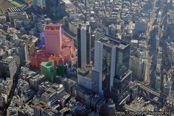 渋谷二丁目西地区第一種市街地再開発事業の計画地の空撮