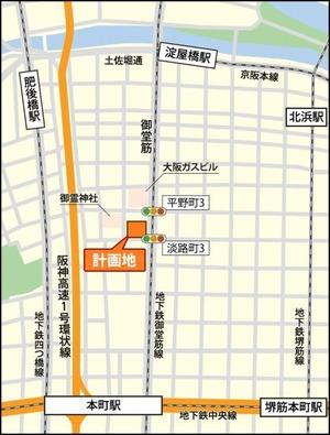 (仮)オービック御堂筋ビル 周辺地図