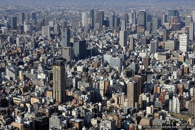大阪の超高層ビル群の空撮