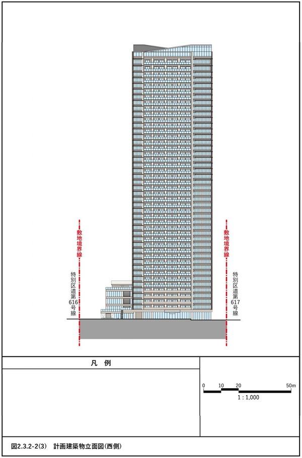 (仮称)赤坂七丁目2番地区再開発事業 計画建物立面図(西側)