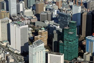 ホテルオークラ東京方面の空撮