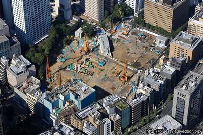 東京ワールドゲート 虎ノ門トラストタワーの建設地の空撮