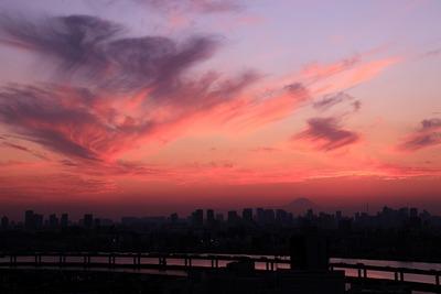 富士山と東京夕景