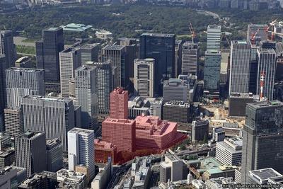 常盤橋街区再開発プロジェクトの建設地の空撮