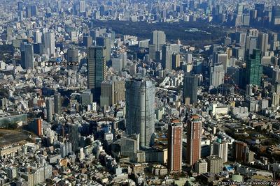 六本木・赤坂方面の超高層ビル群の空撮