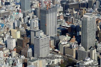 プレミストタワー大阪新町ローレルコートの建設地の空撮