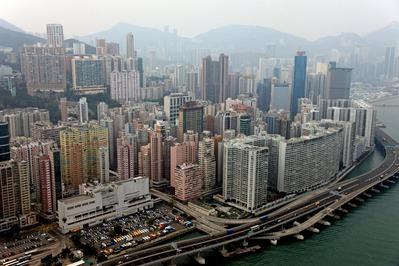 空撮 香港島の北角(ノースポイント)