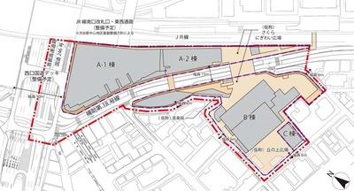 渋谷駅桜丘口地区再開発計画の配置図