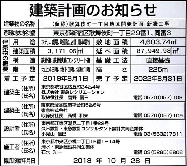 (仮称)歌舞伎町一丁目地区開発計画 建築計画のお知らせ