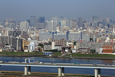 船堀駅前トキタワーから見た東京駅方面の超高層ビル群