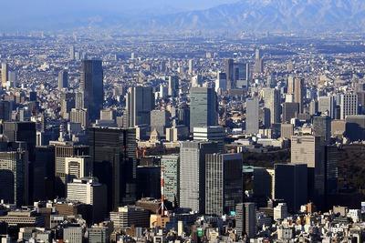 東京スカイツリーの天望回廊から見た大手町の超高層ビル群