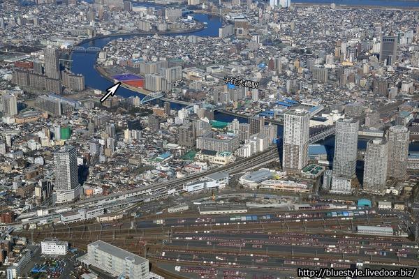 千住大橋駅周辺地区のツインタワー建設地の空撮