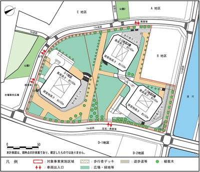 (仮称)東高島駅北地区 C地区棟計画 施設配置計画図