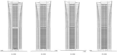 (仮称)渋谷区役所建替プロジェクト 住宅棟 立面図