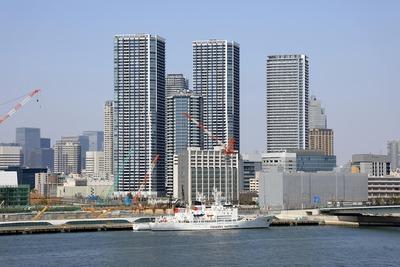 豊洲市場 屋上緑化広場から見た晴海