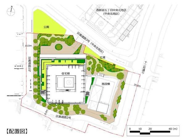 西新宿五丁目中央南地区第一種市街地再開発事業 配置図