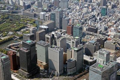 空撮 大手町の超高層ビル群