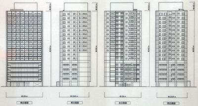 (仮称)千代田区麹町6-4計画の立面図