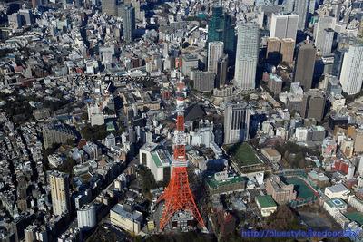 東京タワー方面の空撮
