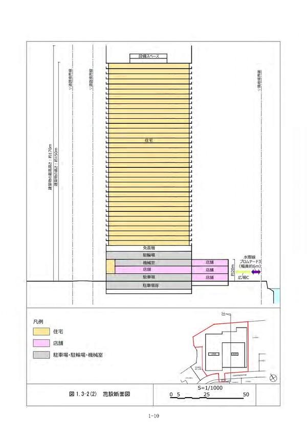 (仮称)北仲通北地区B-1地区新築工事 施設断面図