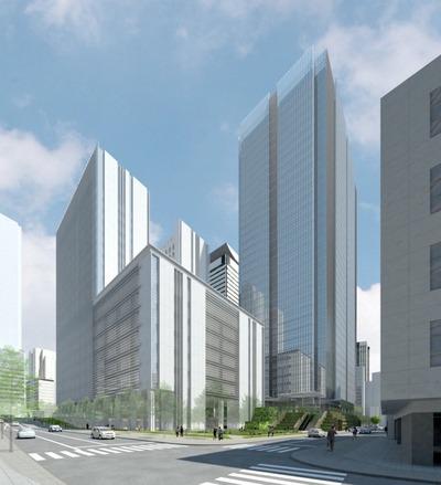 虎ノ門二丁目地区第一種市街地再開発事業の完成予想図