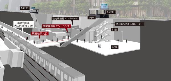 パークコート文京小石川 ザ タワー 地下鉄直結アプローチ概念図