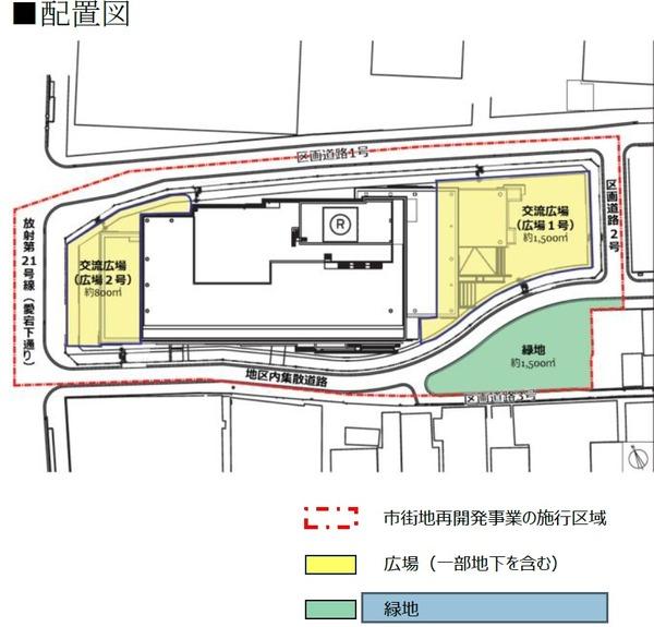 新橋田村町地区市街地再開発事業 配置図
