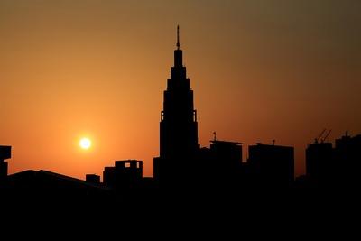 国立競技場から見た夕焼け