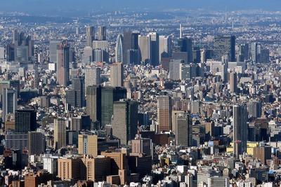 東京スカイツリーから見た新宿方面の眺め
