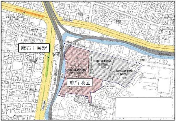 三田小山町西地区第一種市街地再開発事業 位置図