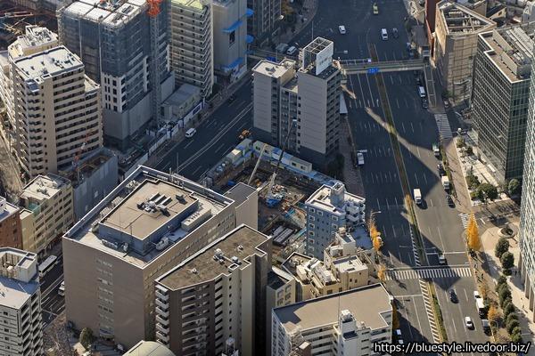 プレミストタワー白金高輪の建設地の空撮