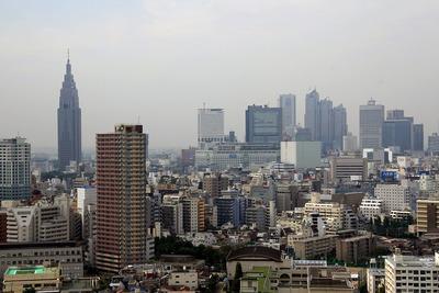 河田町コンフォガーデンから新宿方面の眺め