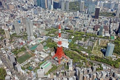 飛行船から東京タワーの空撮