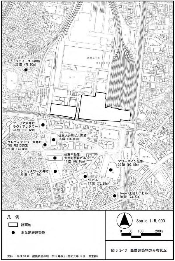 大井町駅周辺広町地区開発 高層建築物の分布状況