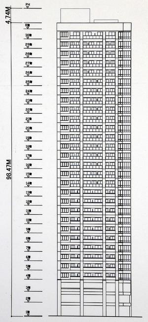 (仮称)中央区瓦町3丁目計画 新築工事 南側立面図