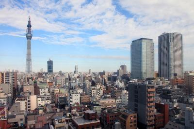 アルカキット錦糸町から見た東京スカイツリーとオリナス