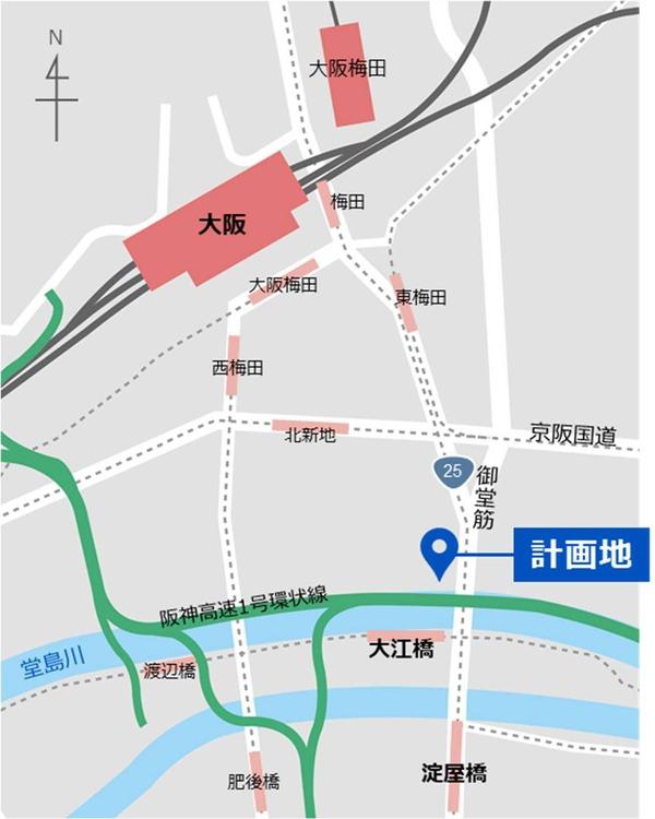 (仮称)大阪三菱ビル建替え計画 広域図