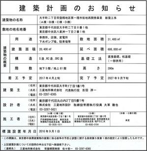 東京駅前常盤橋プロジェクト建築計画のお知らせ