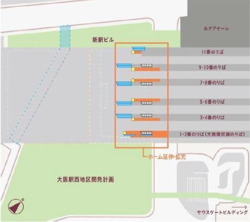 大阪駅西高架エリア開発 2階・ホーム階平面イメージ