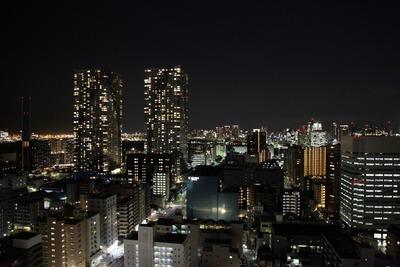 勝どきビュータワーの21階にあるスカイデッキからの夜景