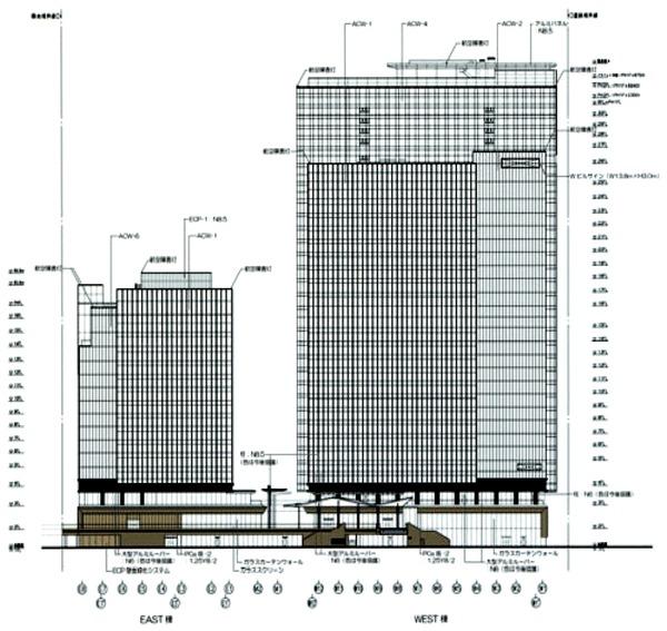 (仮称)みなとみらい21中央地区53街区開発事業 都市景観形成行為のお知らせ 立面図(北側)