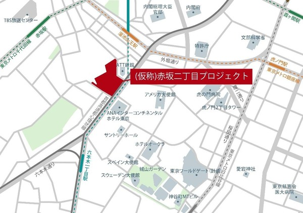 (仮称)赤坂二丁目プロジェクト 建物周辺地図